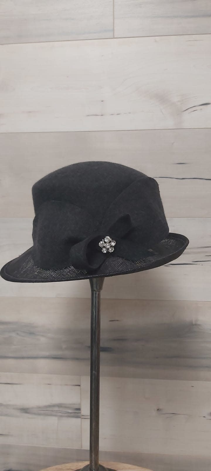Small Charcoal Hat with Straw Brim