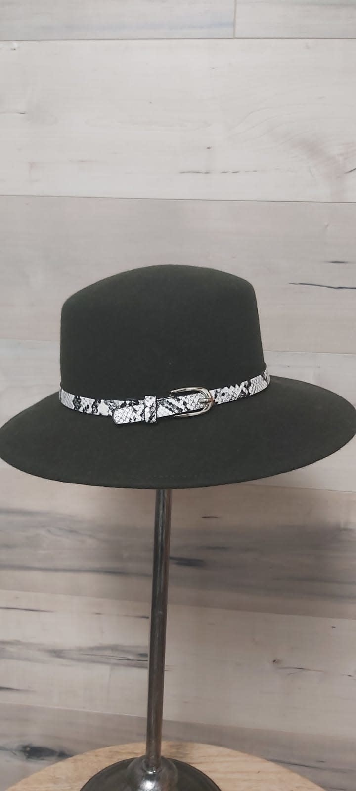 Dark Green Hat with Snake Print Belt and Clasp