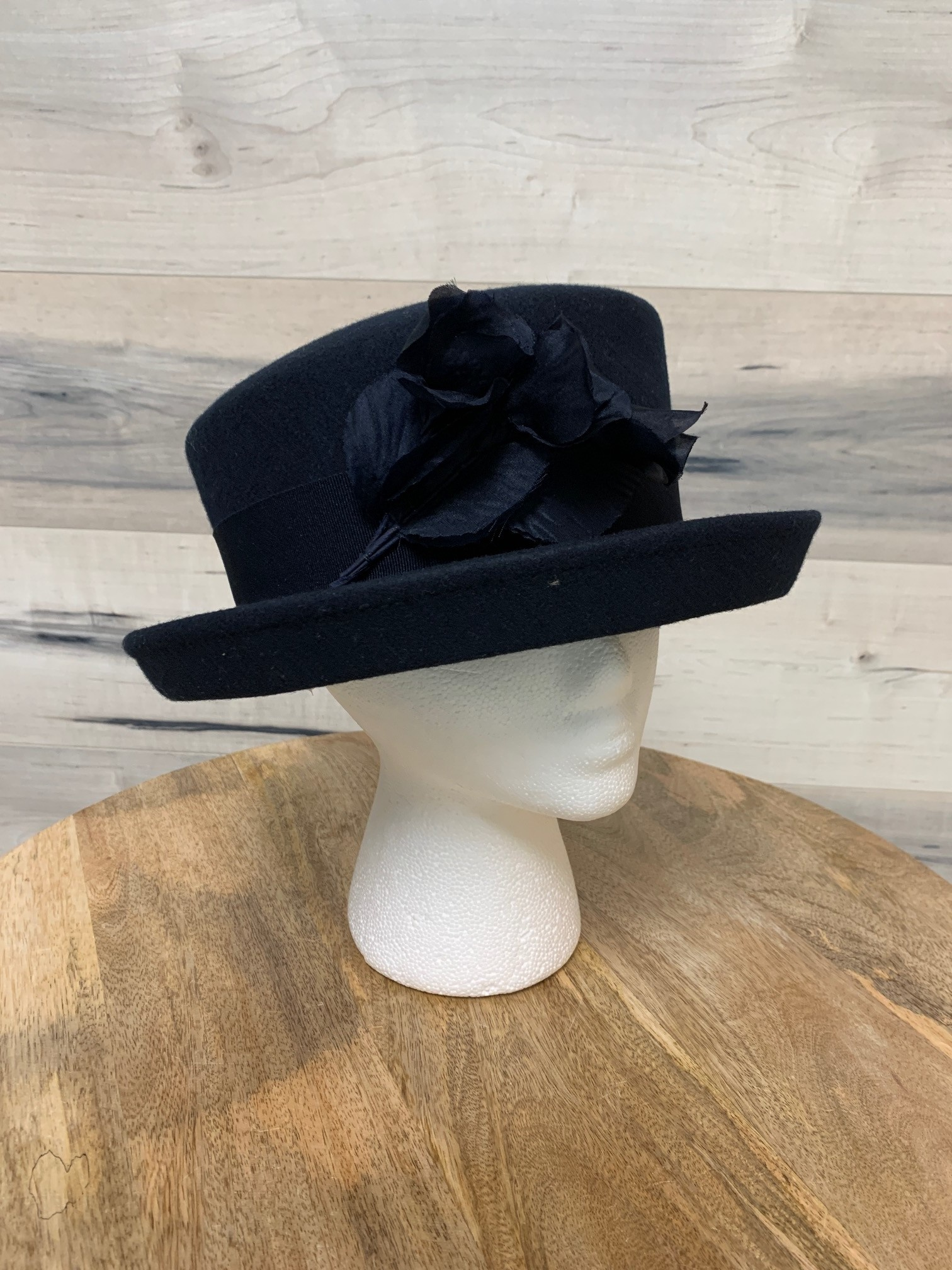 Small Navy Felt Hat with Flower