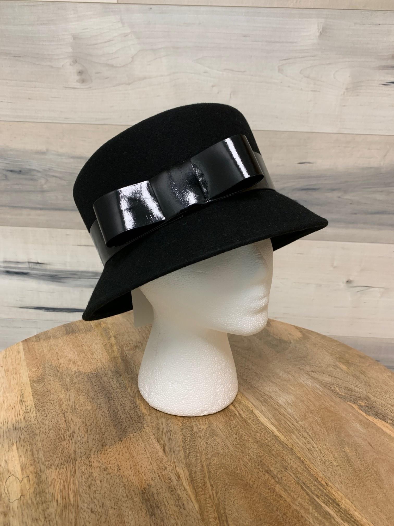 Black Bucket Hat with Patent Trim