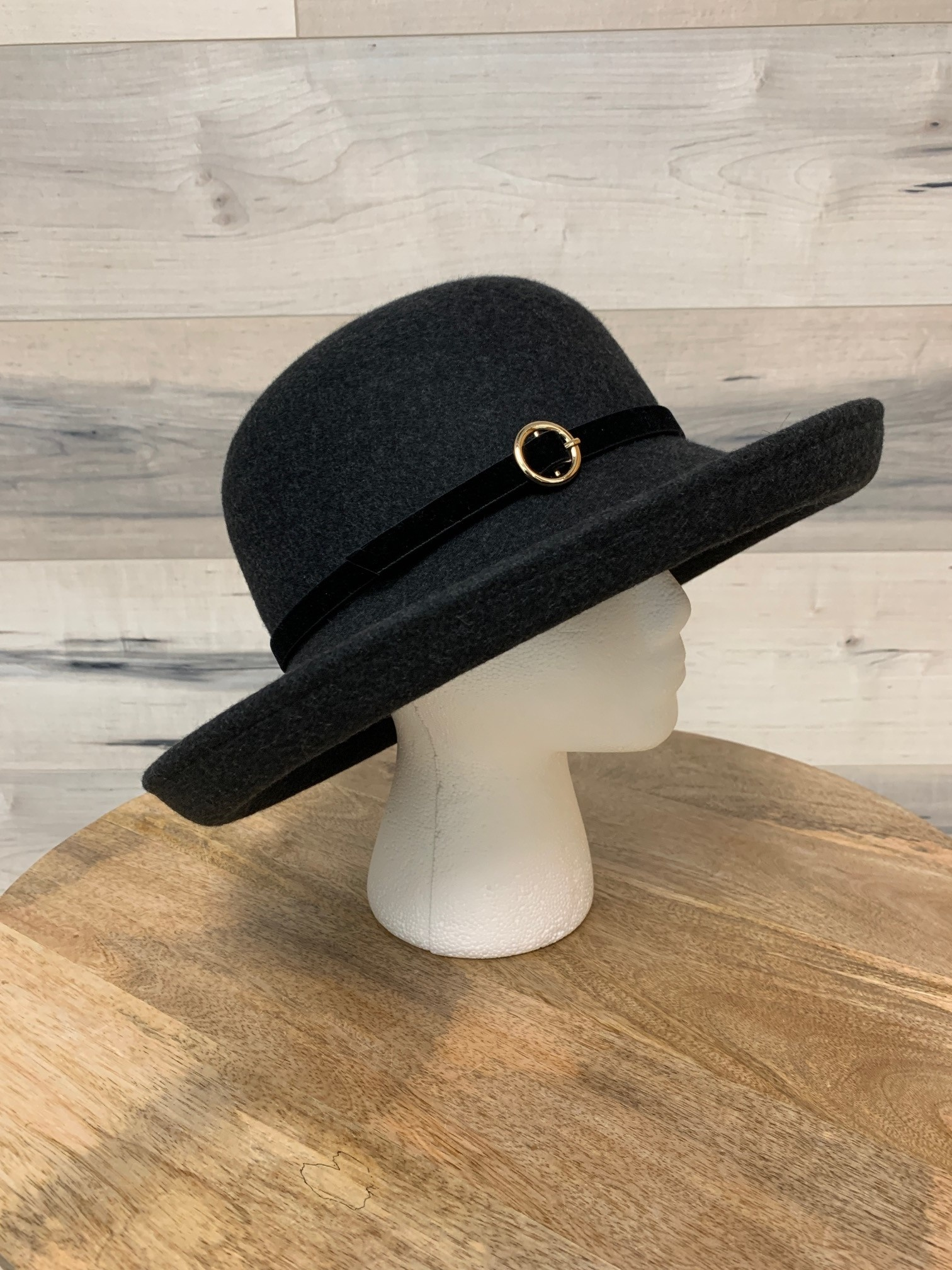 Charcoal Hat with Velour Belt