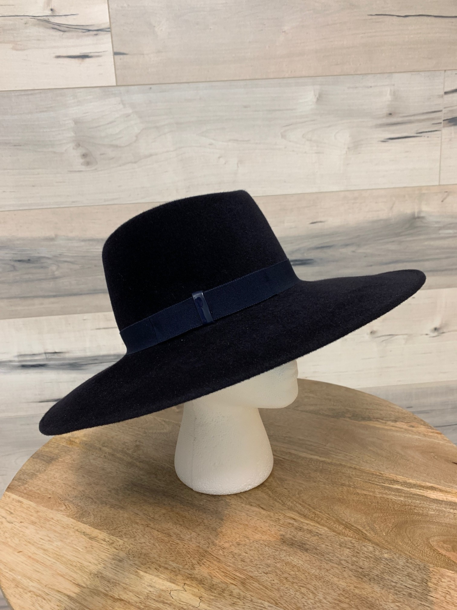 Navy Large Velour Hat with Simple Trim