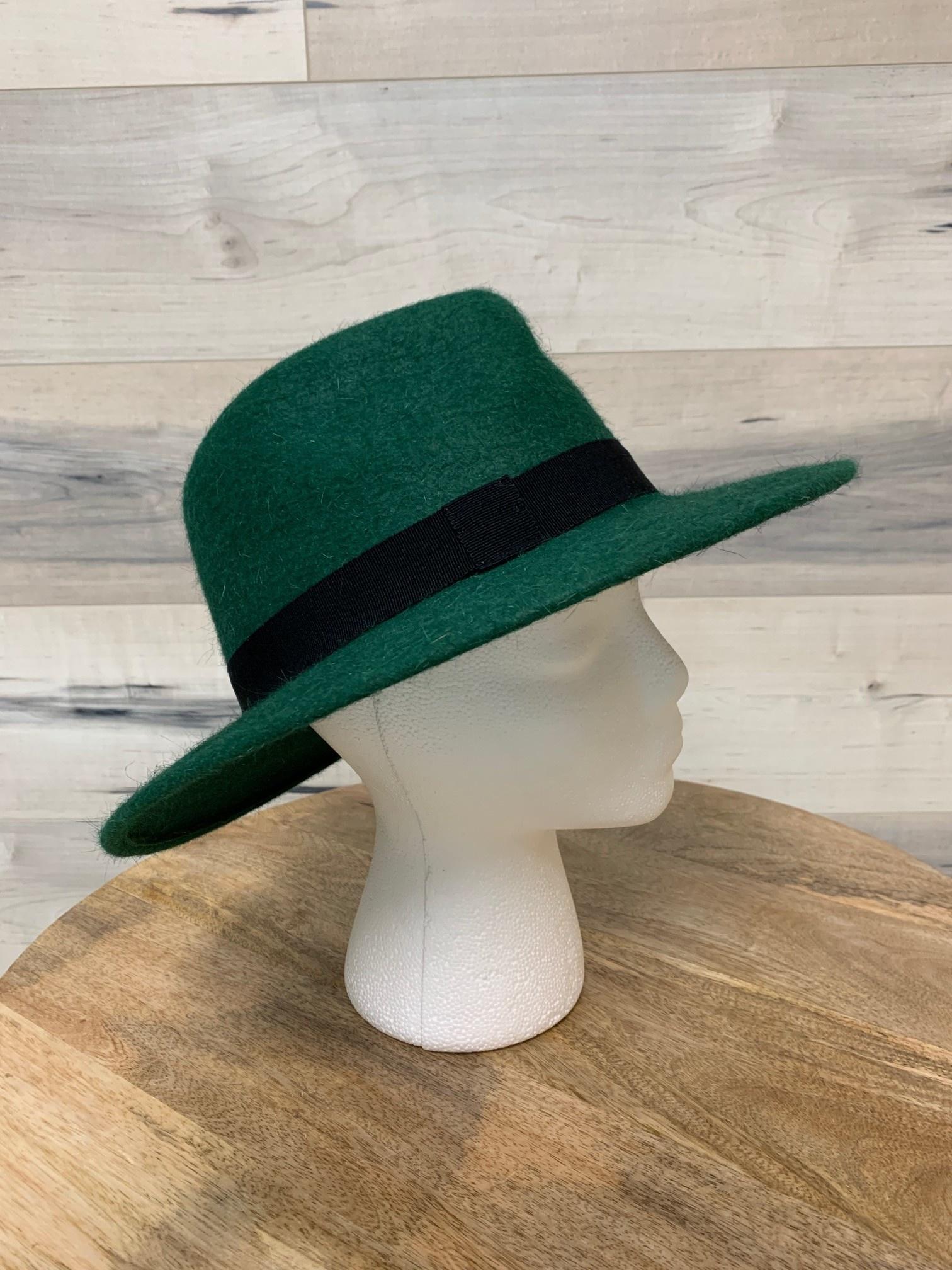 Forest Green Textured Felt Hat with Black Trim