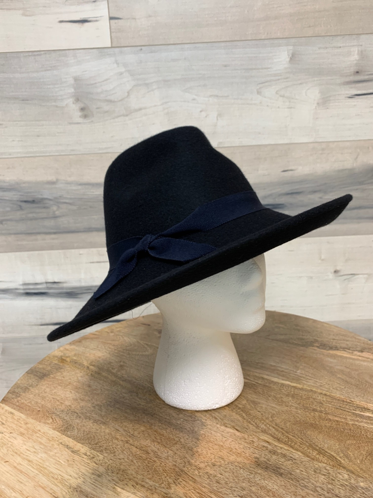Navy Western Style Hat with Sloped Brim