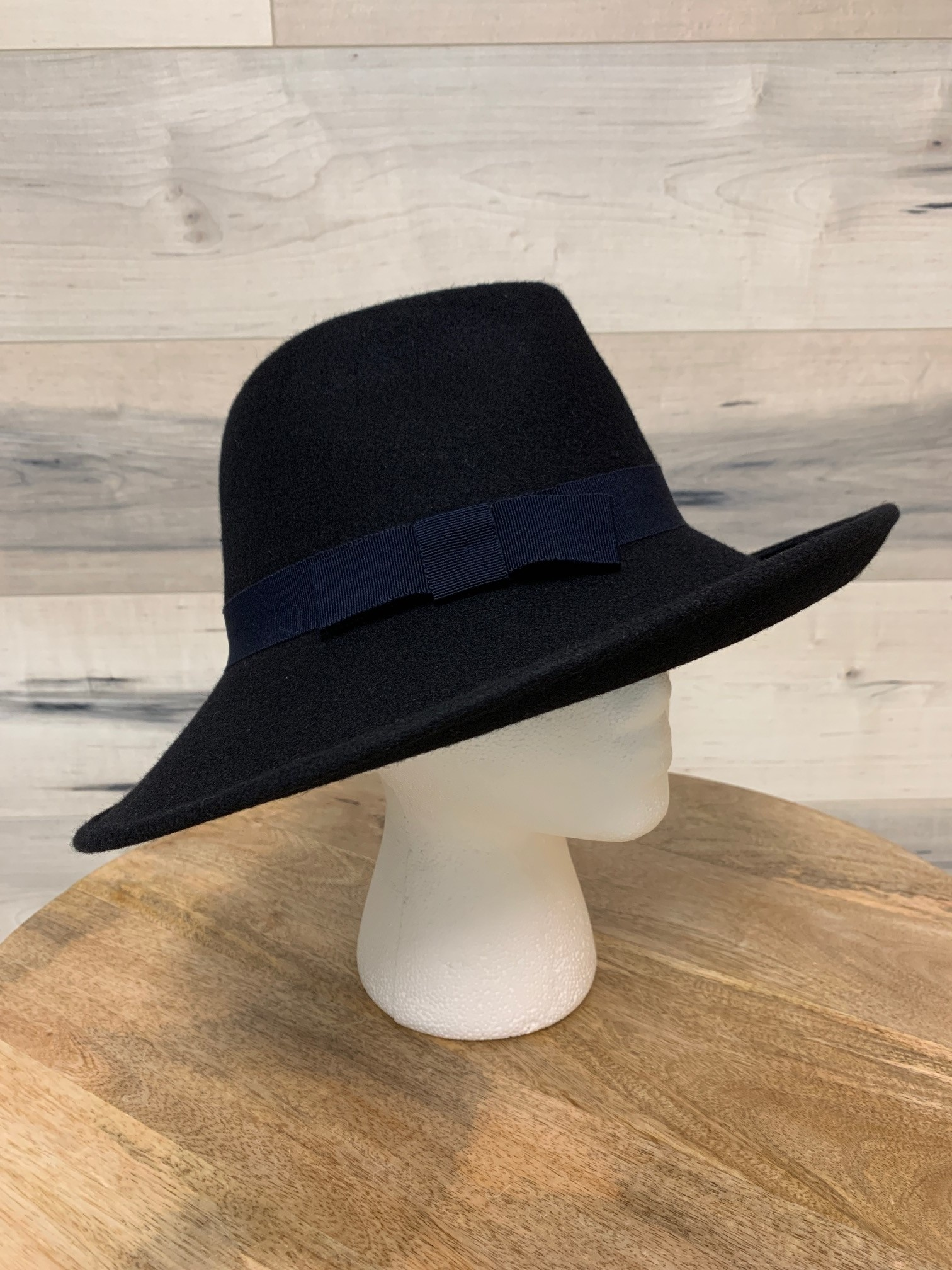Navy Western Style Hat with Sloped Brim and Simple Bow