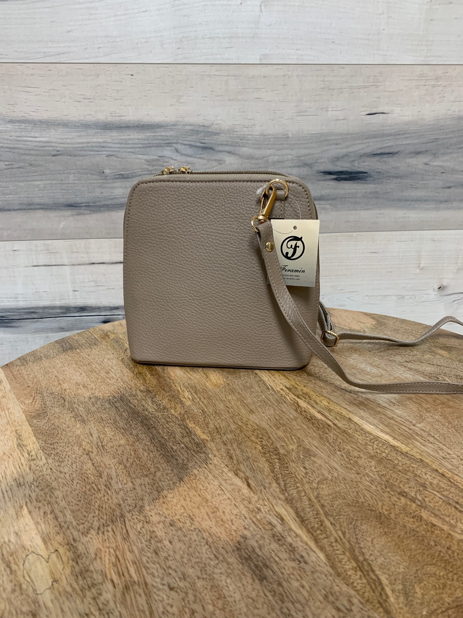 Small Structured Cross-Body Bag - Light Taupe