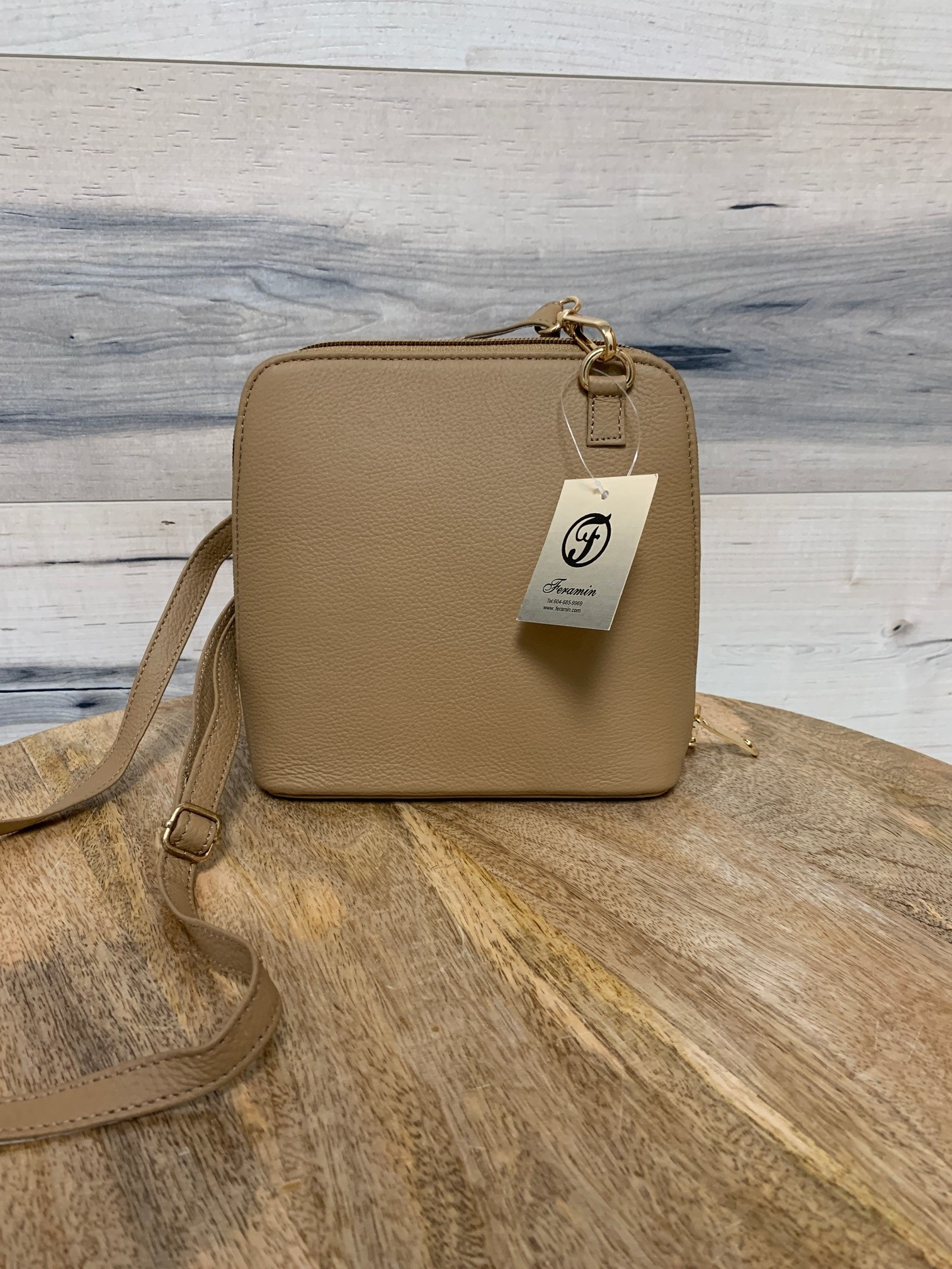 Small Structured Cross-Body Bag - Caramel
