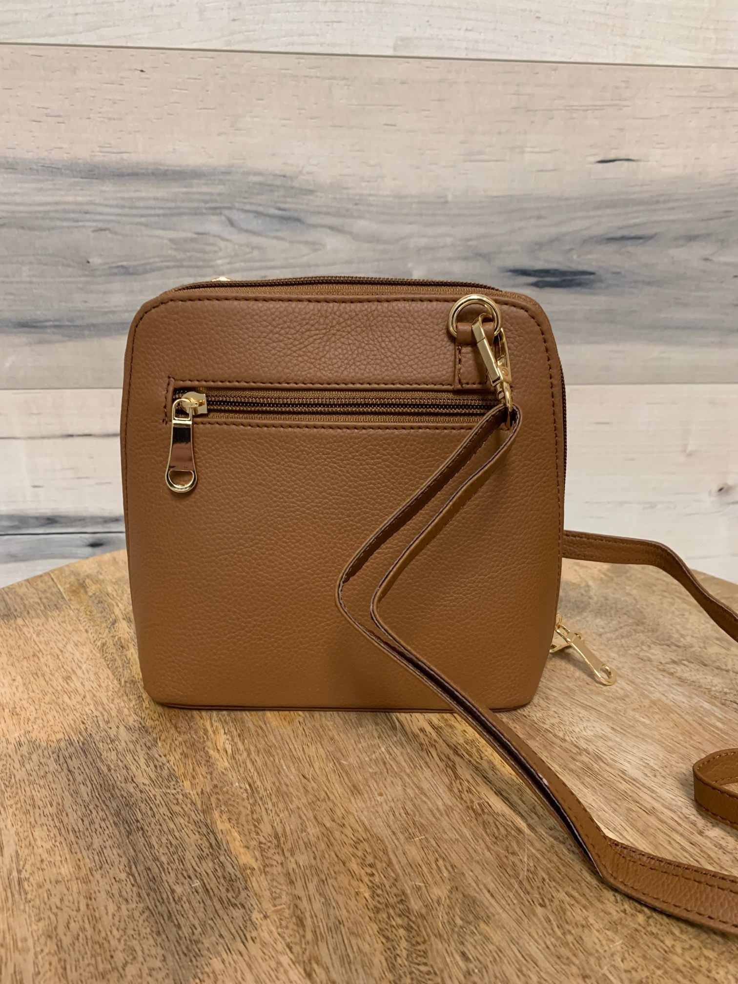 Small Structured Cross-Body Bag - Camel