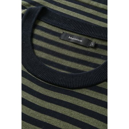 Lennon Long Sleeve Striped Sweater - Olive Night