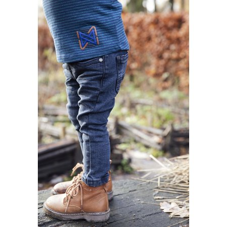 Baby Dark Wash Jeans with Leather Placket