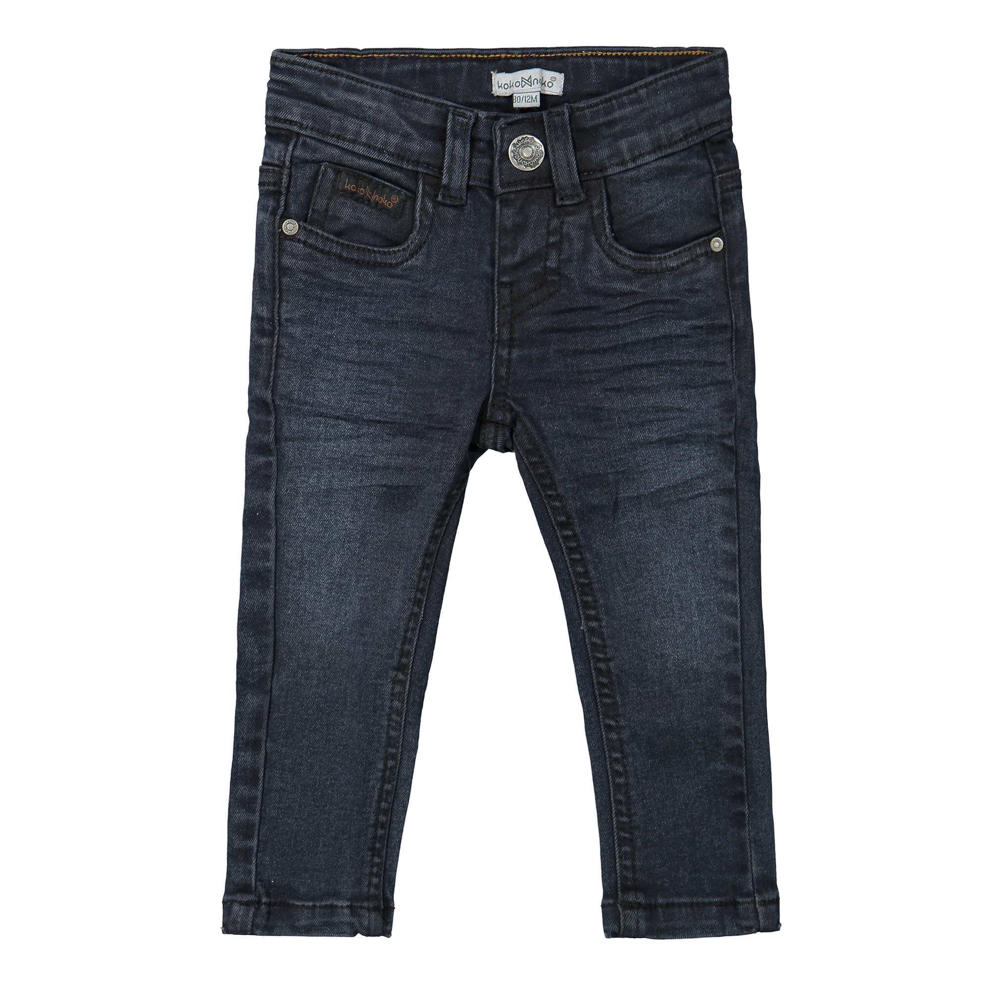 Boys Dark Wash Jeans with Leather Placket