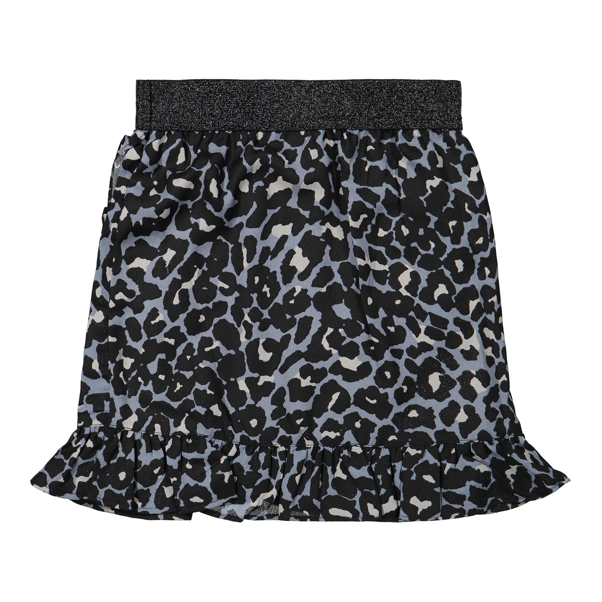 Blue Leopard Print Skirt