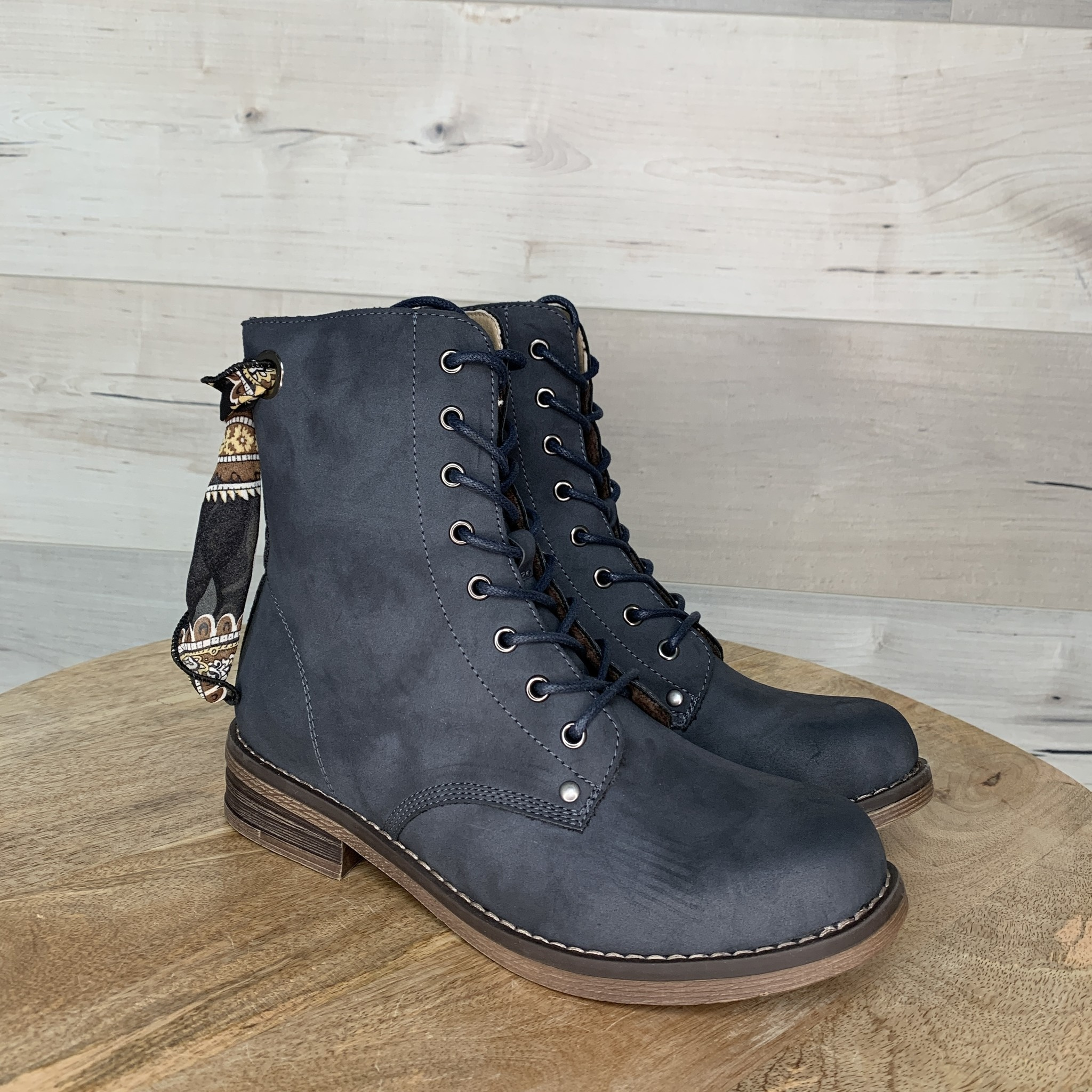 Chai Navy Zip Up Boot with Laces