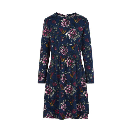 Navy Hummingbird Print Jersey Dress