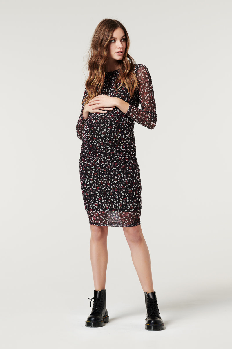 Print Mesh Maternity Dress - Before, During & After
