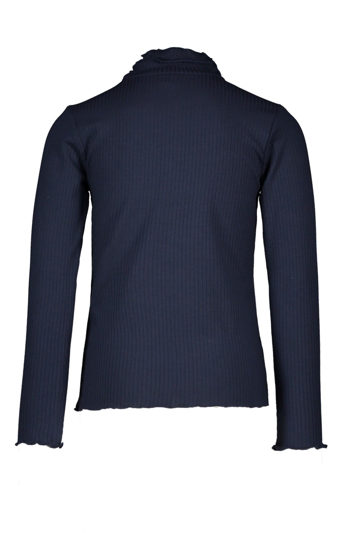 Nola Rib Turtleneck Top - Navy Blue