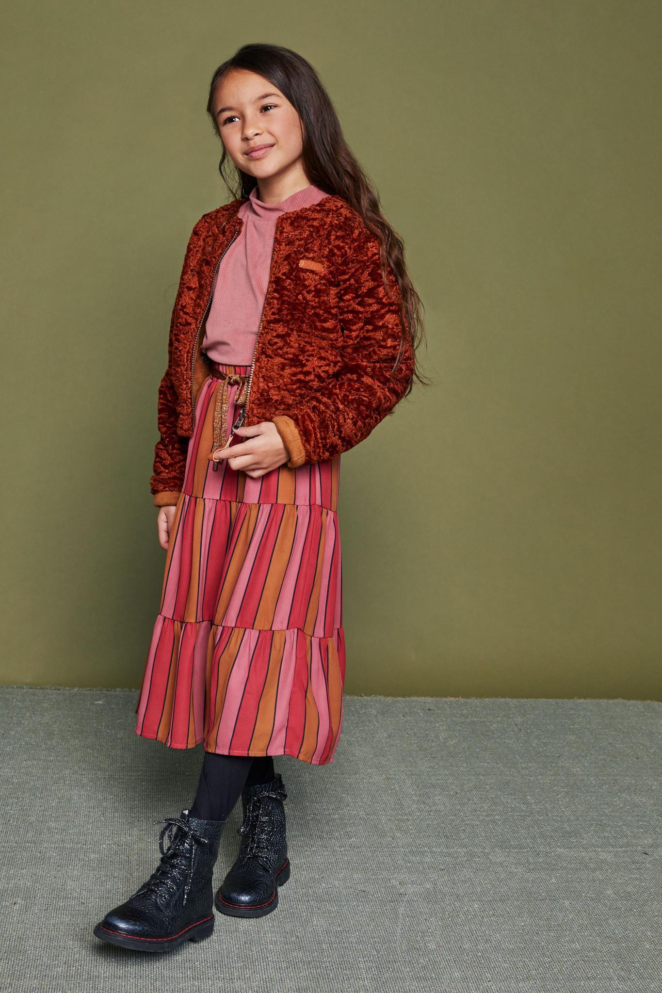 Kyra Rib Turtleneck with Volant Sleeve - Ruby