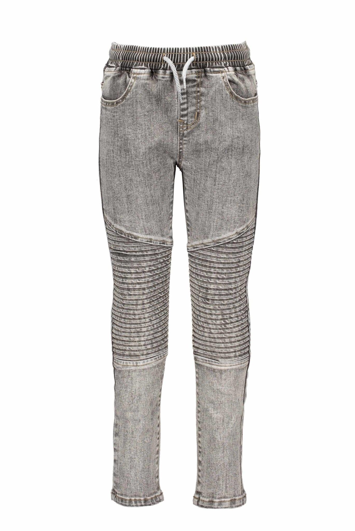 Grey Wash Moto Jeans
