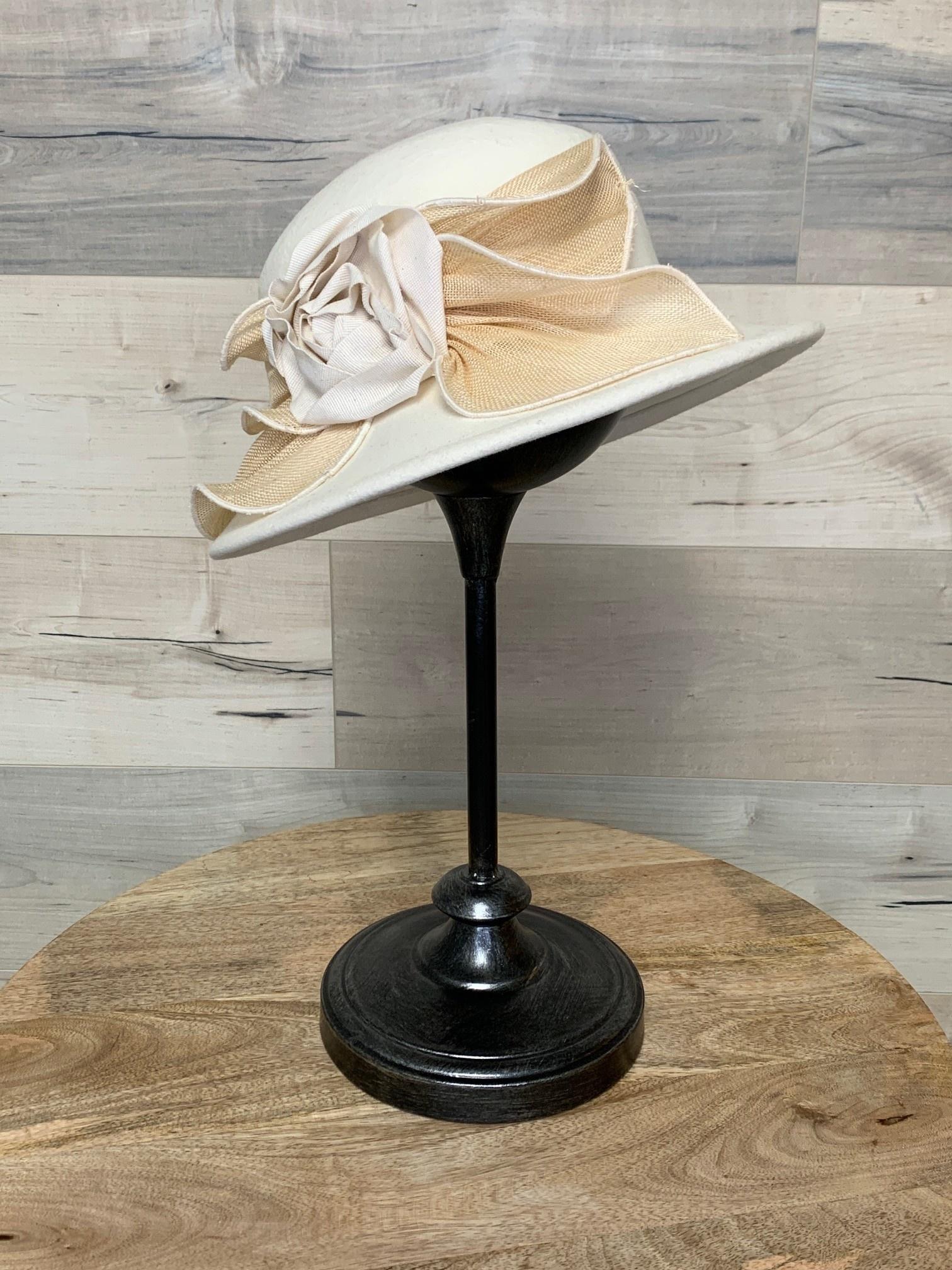 Off White Hat with Raffia Trim