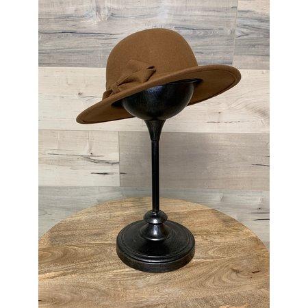 Simple Cognac Felt Hat with Bow