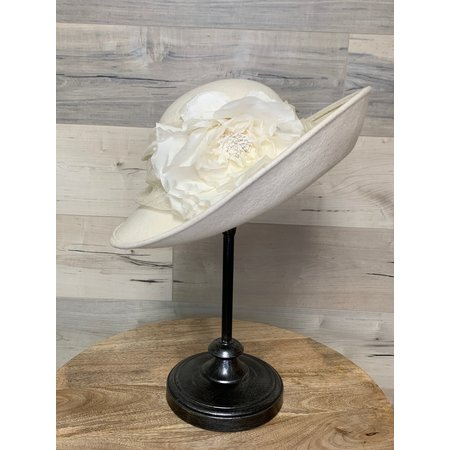 Large Off White Hat with Flower and Trim