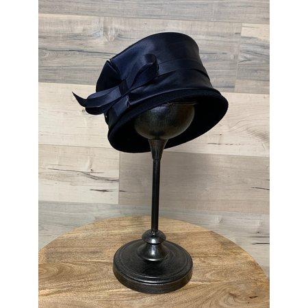 Navy Retro Bucket Hat with Satin Trim