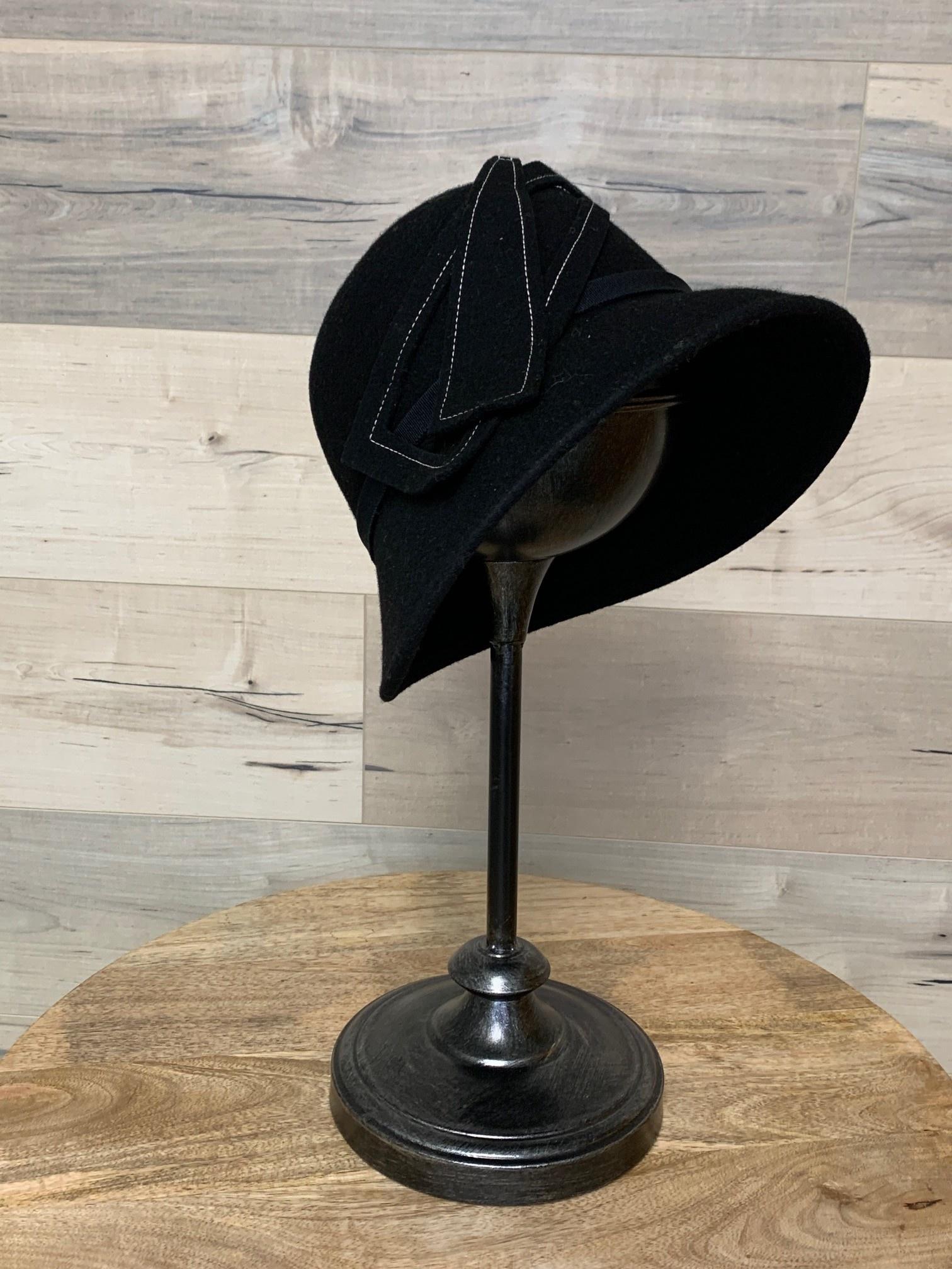 Black Cloche with White Stitching