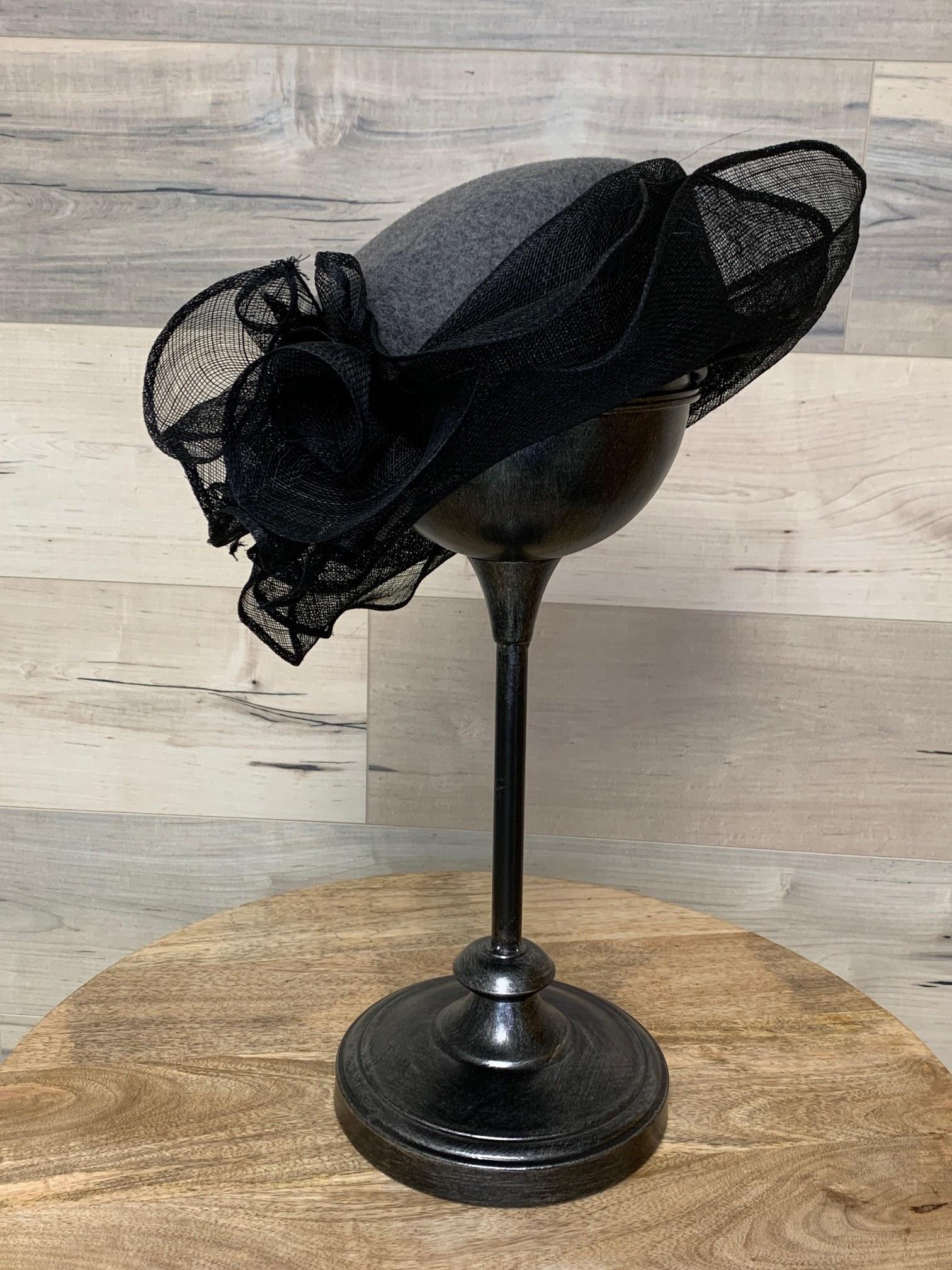 Heathered Grey Pillbox with Black Fancy Trim