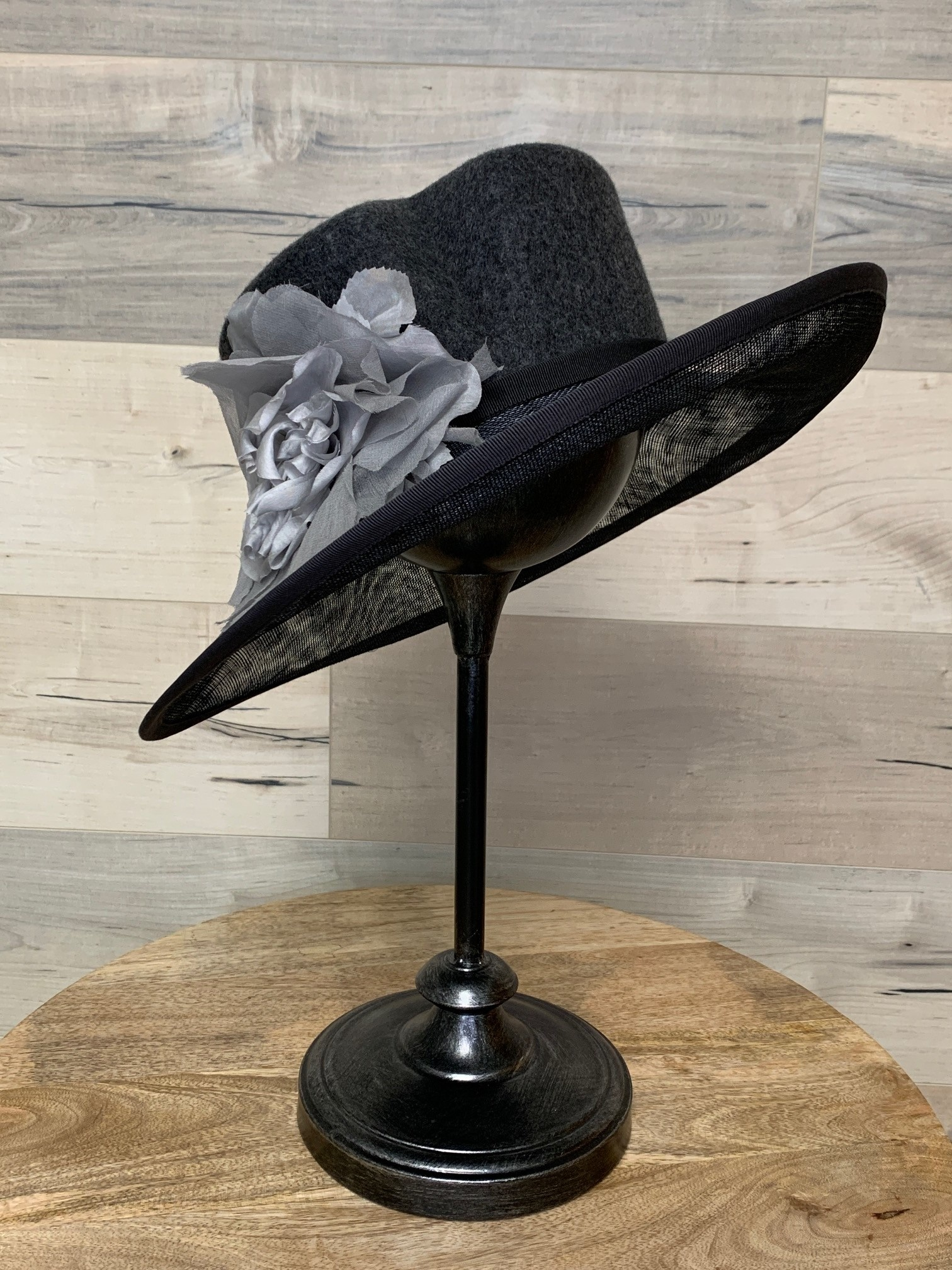 Heathered Grey Hat with Shaped Crown and Flower