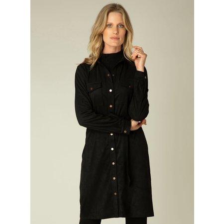 Odi Faux Suede Dress - Black