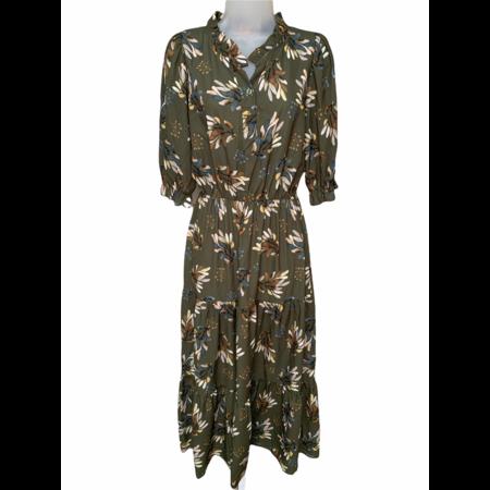 Floral Print Dress - Olive