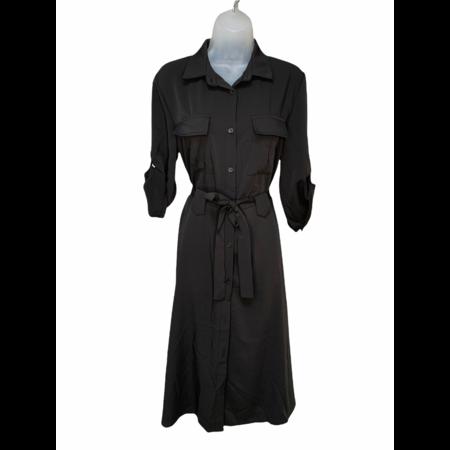 Collared Shirt Dress - Black
