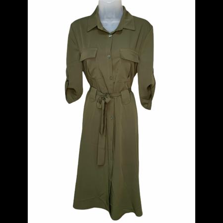 Collared Shirt Dress - Olive