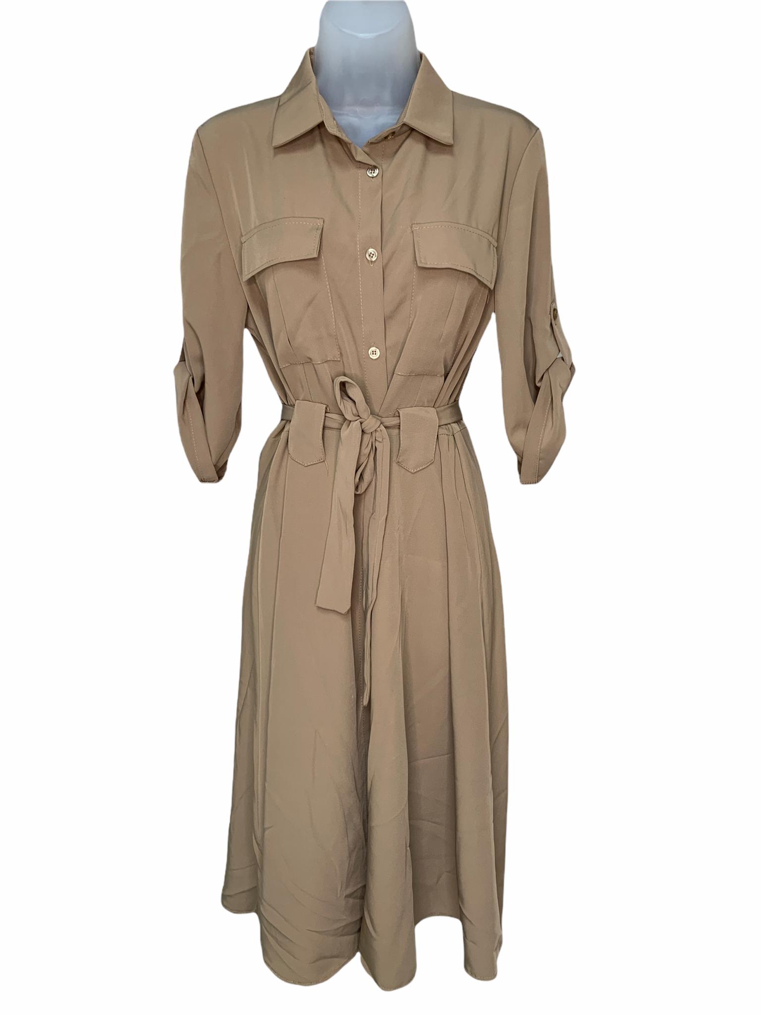 Collared Shirt Dress - Sand