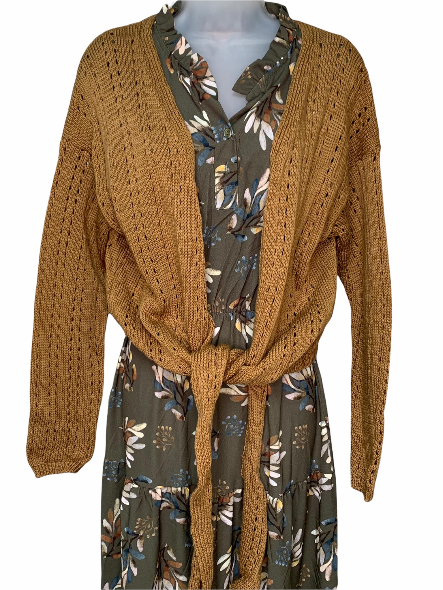 One-Size Knit Cardigan with Tie - Tan
