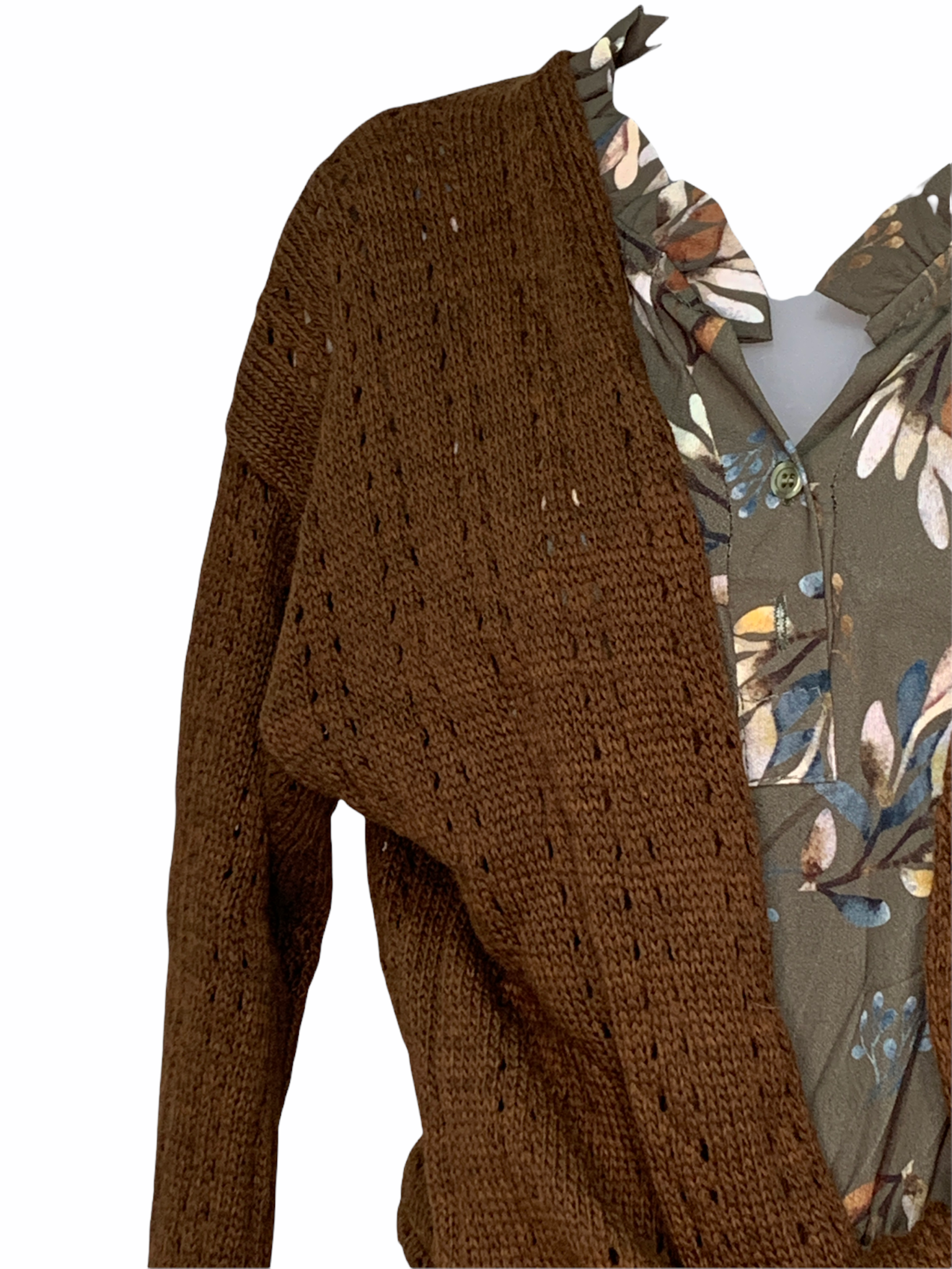 One-Size Knit Cardigan with Tie - Brown