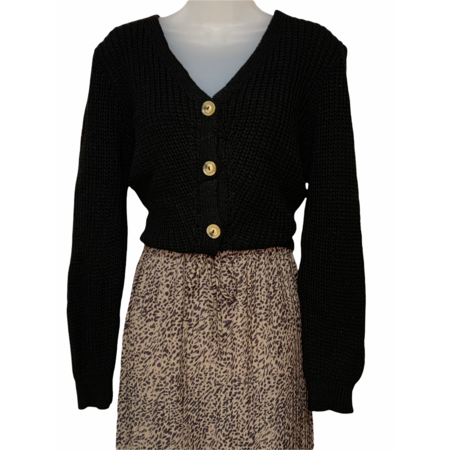 Knit Button Down Cardigan - Black