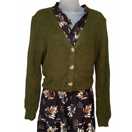 Knit Button Down Cardigan - Olive