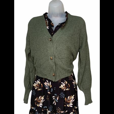 Button Down Cardigan - Sage Green Knit