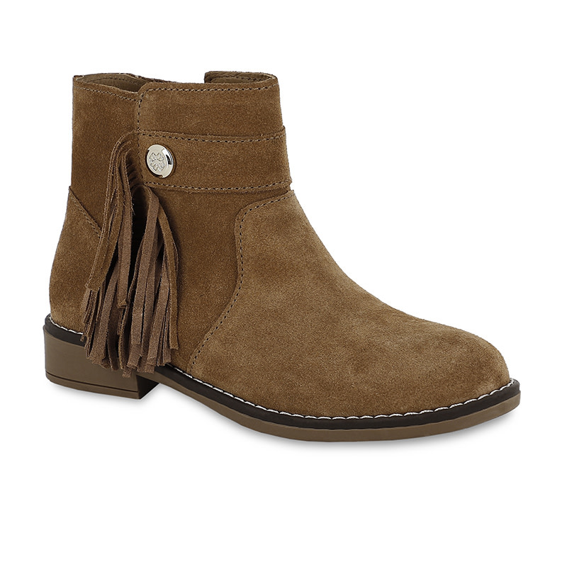 Girls Camel Leather Bootie