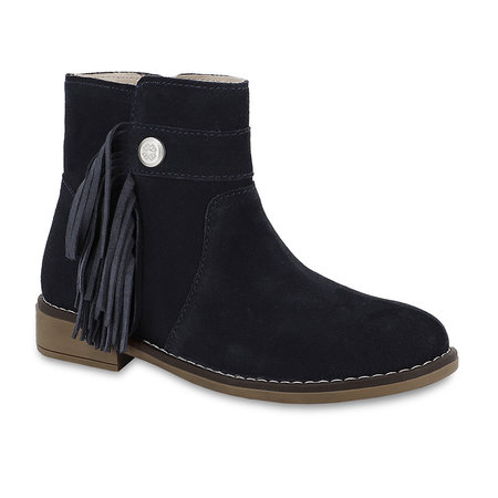 Girls Navy Leather Bootie