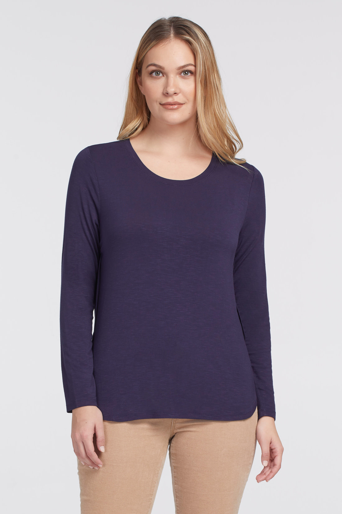 Navy Crew Neck Top with Button Back Detail