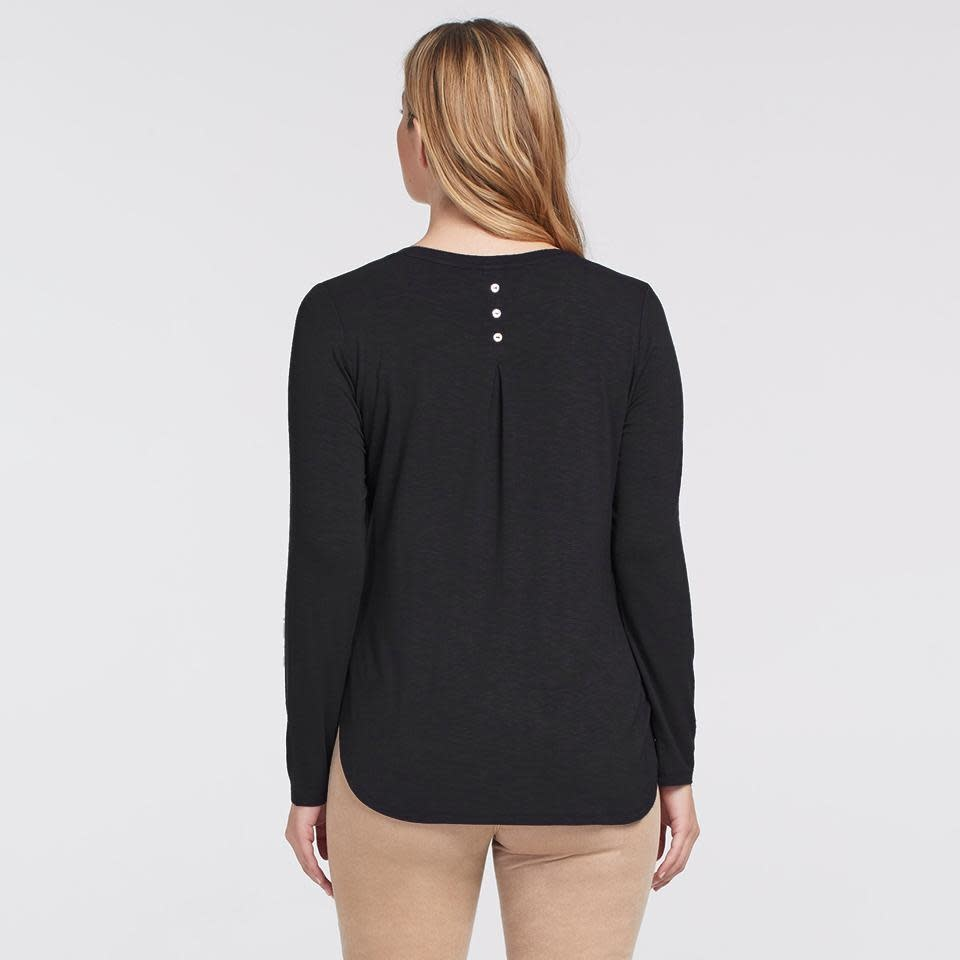 Black Crew Neck Top with Button Back Detail