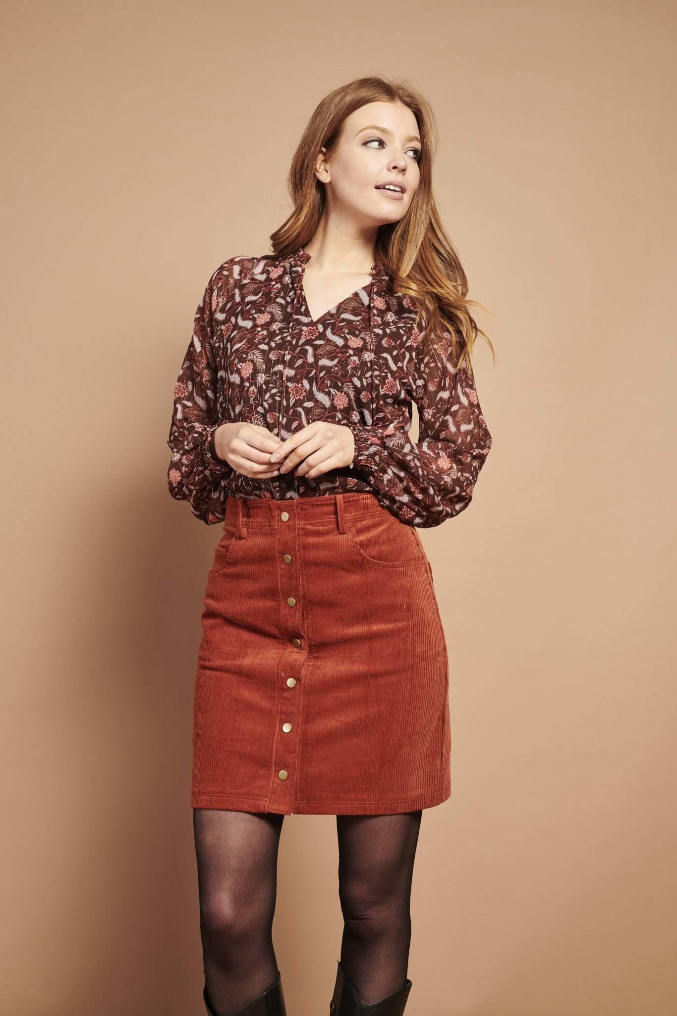 Cord Skirt - Cognac