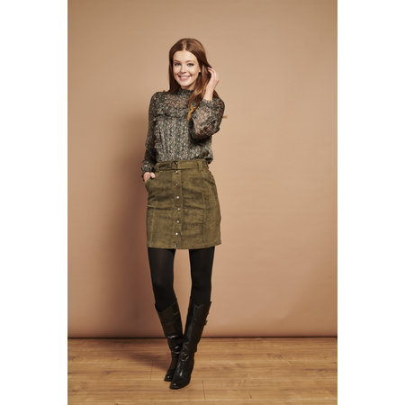 Faux Suede Skirt - Army