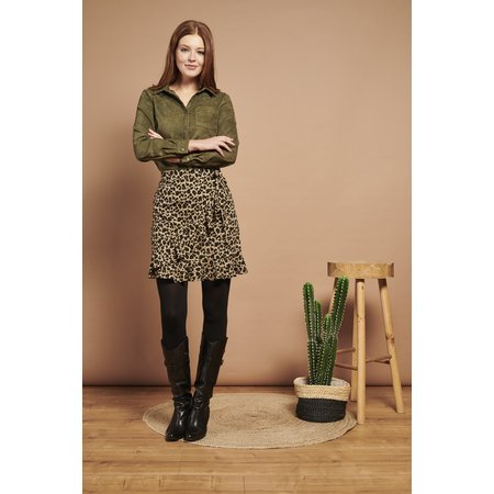 Faux Suede Blouse - Army