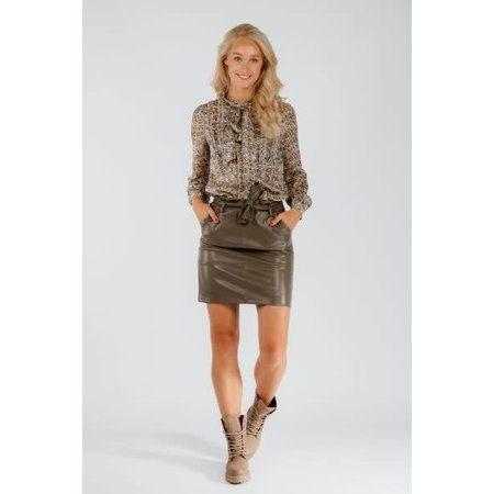 Pleather Skirt with Belt - Army