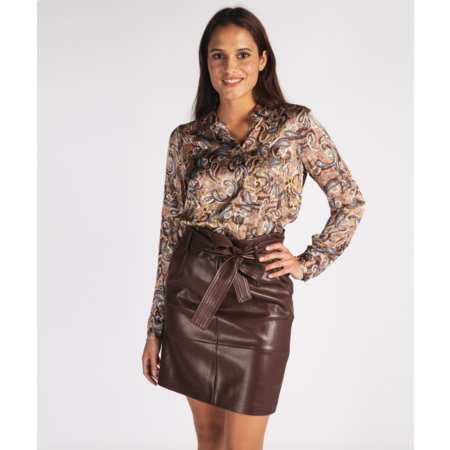 Pleather Skirt with Belt - Rust
