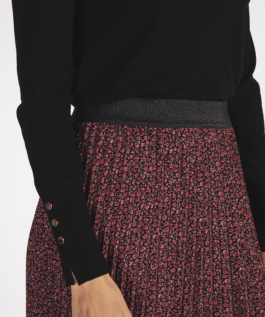 Black Turtleneck Sweater with Button Cuff Detail