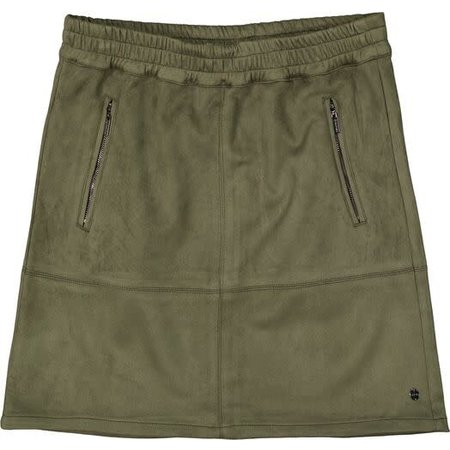 Faux Suede Skirt - Olive